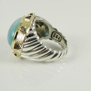 David Yurman Sterling Silver 18K Yellow Gold 18x13mm Oval Turquoise London Blue Topaz Diamond Da Vinci Ring