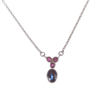 Alberto Juan Sterling Silver Blue Sapphire and Ruby Necklace
