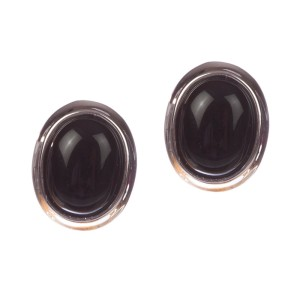Sterling Silver Black Onyx Cabochon Earrings