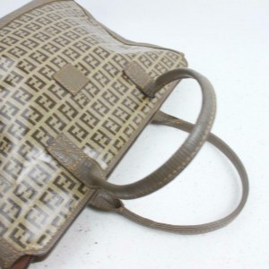 Fendi 872185 Ff Zucca Monogram Tote with Pouch Browns Coated Canvas Satchel
