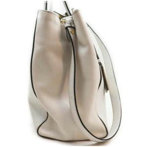 Fendi White Leather 2Jours 2way Tote Bag with Strap 862657