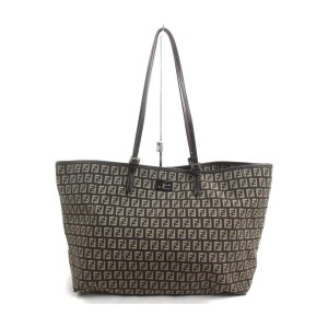 Fendi Dark Brown Monogram FF Roll Tote Bag 863271