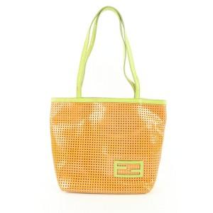 Fendi Orange Perforated Patent Tote Bag 533ff310