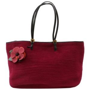 Fendi Bordeaux Flower Forever Roll Shopper 870908 Burgundy Wool Tote