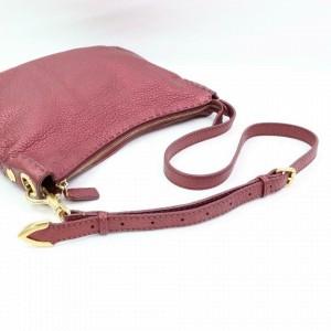 Fendi Hobo Bordeaux Selleria 870355 Burgundy Leather Messenger Bag
