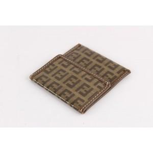 Fendi Crystal Monogram FF Zucca Flap Compact Wallet 12FF1221
