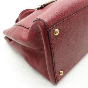 Fendi Burgundy Jours 2way 868399 Red Leather Tote