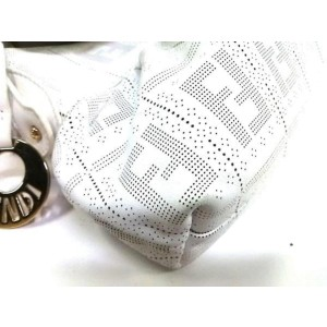 Fendi Chef White Perforated Leather Charm Satchel 2390768