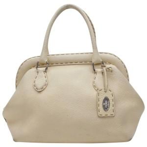 Fendi Cream Leather Selleria Bowler Bag 858819