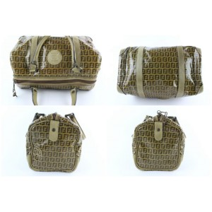 Fendi Brown Crystal Canvas Monogram FF Zucca Boston Duffle Bag 232855