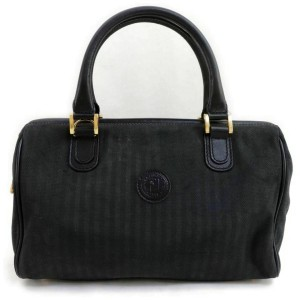 Fendi Black Pequin Stripe Boston Duffle 858603