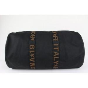 Fendi Black Roma Star Italy 5 Boston Duffle Bag with Strap Pouch 228ff716