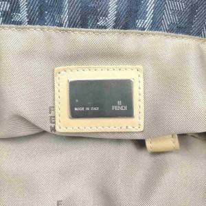 Fendi Ff Monogram Zucca Shopper 860049 Navy Blue Denim Tote