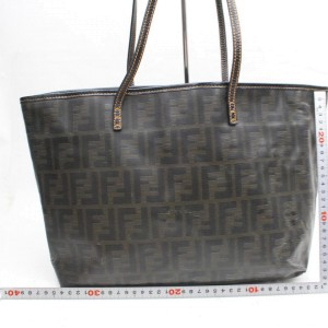 Fendi Ff Zucca Monogram Spalmati Roll Shopper 869748 Brown Coated Canvas Tote