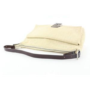 Fendi Ivory Zucca Mamma FF Monogram Baguette Zip Shoulder Flap Bag 50ff423