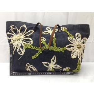 Fendi Floral Shopper 866848 Navy Denim Tote