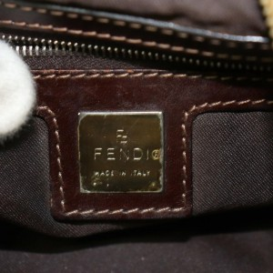 Fendi Hobo 872027 Khaki Forever Mama Brown Corduroy Shoulder Bag