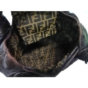 Fendi Hobo Chocolate Spy Woven 239778 Dark Brown Leather Satchel