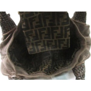 Fendi Hobo Large Woven 239786 Taupe Brown Leather Satchel