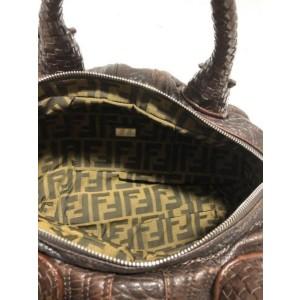 Fendi Hobo Tiny Nano Mini Spy Woven 239763 Brown Leather Satchel