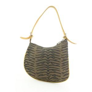 Fendi Brown x Yellow Zebra Zucca Ostrik Bag Kidney Hobo Bag 1ff113
