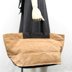 Fendi Large Logo All Over 239767 Beige X Dark Brown Suede Leather Tote