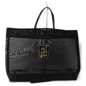 Fendi Large Mesh Logo Ff 872854 Black Nylon Tote