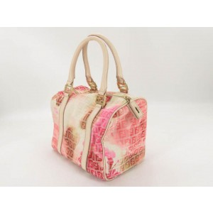 Fendi (Limited Edition) Floral Ff Zucca Boston 866690 Pink Leather Satchel