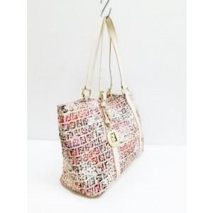 Fendi Monogram Ff Floral Charm Shopper 239761 Beige X Multicolor Jacquard Leather Tote