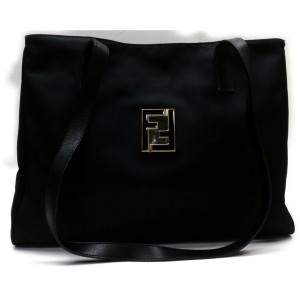 Fendi Monogram Ff Logo Tote 872768 Black Nylon Shoulder Bag
