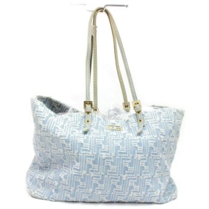 Fendi Monogram Ff Logo Zucca Shopper Roll 872794 Blue Denim Tote