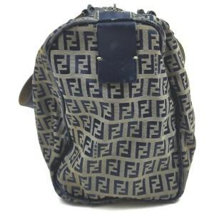 Fendi Navy Blue Monogram FF Zucca Boston Shoulder bag 862313