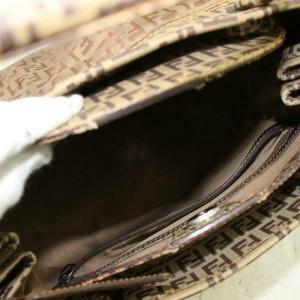Fendi Monogram Ff Zucca Bowler 870721 Brown Nylon Satchel