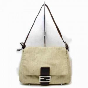 Fendi Monogram Ff Zucca Mama Forever Flap 872951 Beige Canvas Shoulder Bag