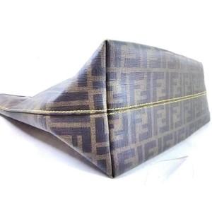 Fendi Monogram Ff Zucca Roll Shopper 239757 Brown X Yellow Coated Canvas Tote