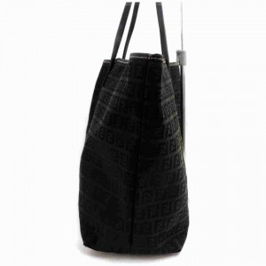 Fendi Monogram Ff Zucca Roll Shopper 860034 Black Canvas Tote
