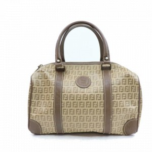 Fendi Duffle Monogram Zucca Ff Boston 870471 Brown Coated Canvas Satchel
