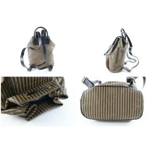 Fendi Pequin Stripe 31fz0629 Brown Canvas Backpack
