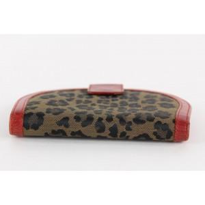 Fendi Leopard Cheetah Red Leather Round Wallet 11FF1214