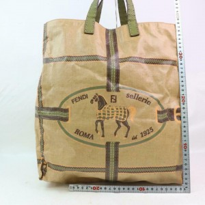 Fendi Roma 1925 Selleria Horse Logo 871471 Beige Coated Canvas Tote
