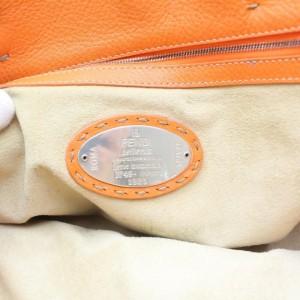 Fendi Romano Large Carla Selleria 872727 Orange Leather Tote