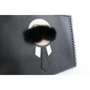 Fendi Clutch Saffiano Karlito Flat 13fz0810 Black Leather Wristlet