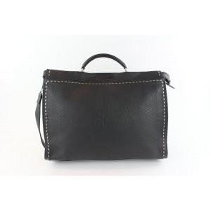 Fendi Selleria Peekaboo 2way Business 20fz1102 Black Leather Messenger Bag