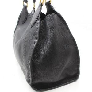 Fendi Selleria Turnlock 869639 Black Leather Shoulder Bag