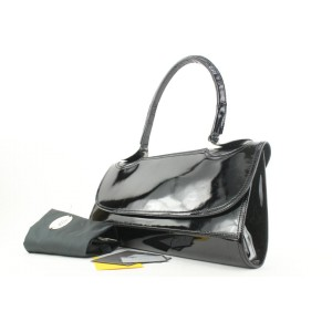 Fendi Black Patent East West Top Handle Bag 41ff115