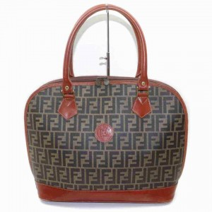Fendi Brown Zucca Boston Dome Satchel Tobacco  858001