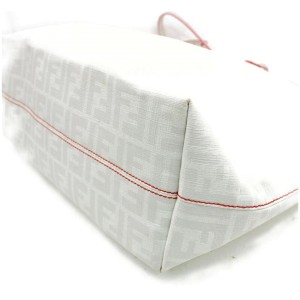 Fendi Zucca Roll Zip Monogram Ff Spalmati 872178 White Coated Canvas Tote