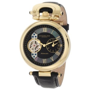 Stuhrling The Emperor 127.33351 23K Yellow Gold & Leather 41mm Watch