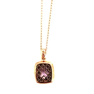 14K Rose Gold Necklace Amethyst Quartz Cushion Pendant