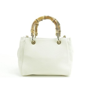 Gianni Notaro Crossbody 232380 Bamboo 2way Tote White-ivory Leather Shoulder Bag